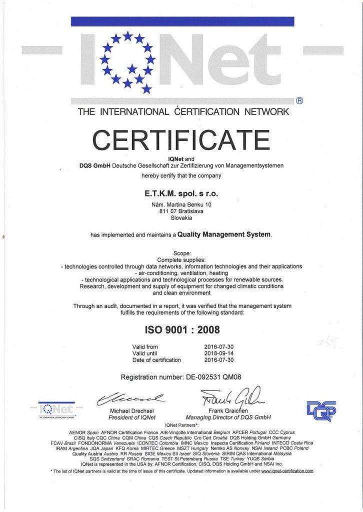 ISO 9001 : 2008 Certification - ACIEET.eu